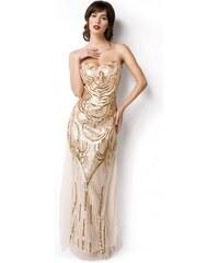 Nádherné art deco zlaté dlhé plesové šaty 14919 7c6c2a29bb9