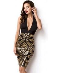 2aa96be7b7d Krátke čierno zlaté spoločenské šaty 14924