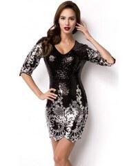 2d84ae46d3c3 Plesové trblietavé secesné šaty so striebornými ornamentami 14932