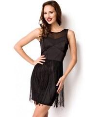 e78a014ea Krátke čierne dámske šaty so strapcami 14989