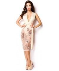f5ca9fbefc34 Elegantné šaty s multiway viazaním béžovo zlaté 15097