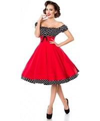 Pôsobivé červené retro šaty a lá 50. roky Belsira 50058 a90c4f2241c
