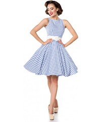 ad8901247535 Kárované retro šaty s opaskom Belsira Belsira 50049