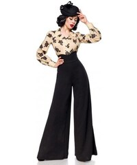 2f6fa2a92435 Široké čierne Marlene nohavice s vysokým pásom Belsira 50074