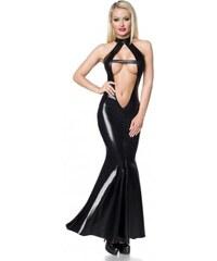 7df88f21f632 Extravagantné čierne wetlook šaty na zvádzanie Saresia 18216