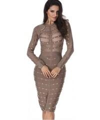 594a337fbb4 Šedé bandážové spoločenské midi šaty s cvočkami N15135 LC28395-11
