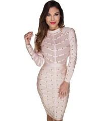 cedbd68bf5a Béžové bandážové spoločenské midi šaty s cvočkami LC28395-18