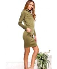 bed9d3c42617 Voľnočasové kaki šaty s dlhým rukávom A6135-3