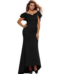 547ac2c0cc12 Maxi dlhé čierne spoločenské šaty s volánom vzadu LC61303-2