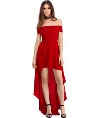 e02374ddb89c Sexi červené carmen party high - low šaty LC61437-3