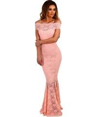 Dlhé čipkované spoločenské bardot šaty - ružové LC61481-10 bc8a10b9c15