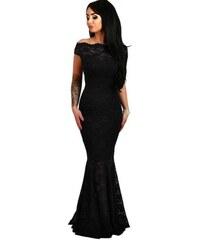 Dlhé čipkované spoločenské bardot šaty - čierne LC61481-2 c96cfc303e7