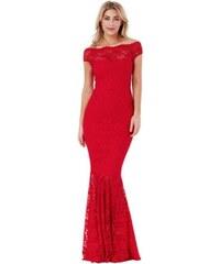 ef9ed8ff0fa Dlhé čipkované spoločenské bardot šaty - červené LC61481-3
