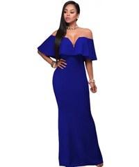 dde0283718a9 Dlhé modré spoločenské šaty s holými ramenami LC61404-5