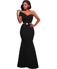 e5e418af230 Dlhé trendy čierne spoločenské šaty na jedno rameno LC61774-2