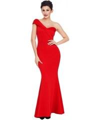 2498a80b7636 Dlhé trendy červené spoločenské šaty na jedno rameno LC61774-3