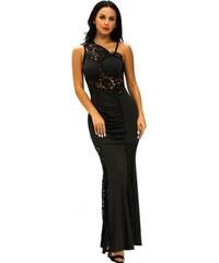 4c4e4ebac05 Dlhé čierne čipkované šaty GLORIA LC61130-2