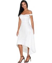 f8b69a23193 Krátke bardot spoločenské šaty - biele LC61850-1