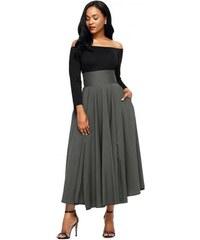 ca521776229c Jersey šedá sukňa s vreckami a s vysokým pásom LC65053-11