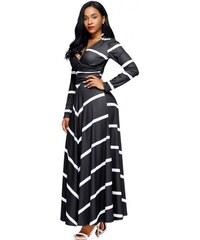00d98870f5f9 Dlhé pásikované voľnočasové šaty LC61717-2
