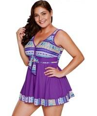 9c759dcaee53 Plavkové fialové šaty s indiánskou potlačou LC410337-8