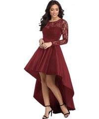 3392fe2813e7 Asymetrické burgundy čipkované šaty LC61910-3