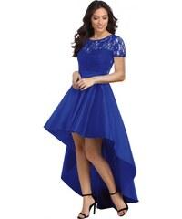 54a2a2c3fb9 Asymetrické modré čipkované šaty s krátkym rukávom LC610028-5
