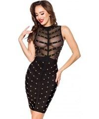 c8bf1dd25d8c Čierne bandážové spoločenské midi šaty s cvočkami LC28401-2