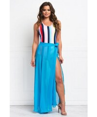 d1438973d670 Dlhá modrá priesvitná plážová zavinovacia sukňa LC42275-4