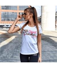 85ee785b71aa Dámske tričko Will Squat For Chocolate White - GymBeam