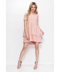 eefa214561 StarShinerS Rózsaszínű Makadamia ruha elegáns asszimmetrikus szabással bő  szabású fodros enyhén rugalmas anyag