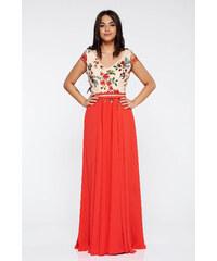 Piros StarShinerS hímzett alkalmi ruha belső béléssel lenge anyagból 39e0ba1e8d