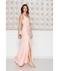 Barackvirágszínű StarShinerS alkalmi ruha enyhén elasztikus szövet belső  béléssel virágos díszek 3d effekt 8978af990b