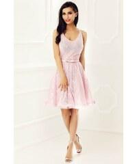 9cd7111d23 Rózsaszínű StarShinerS alkalmi harang ruha csipkés anyagból belső béléssel  flitteres díszítés