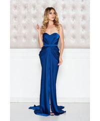 07df133732 Kék StarShinerS aszimetrikus ruha szivacsos, push-up-os mellrész ráncolt  anyaggal