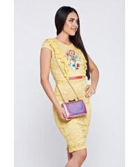 Sárga StarShinerS alkalmi hímzett ruha csipkés anyagból 79ced4fc24