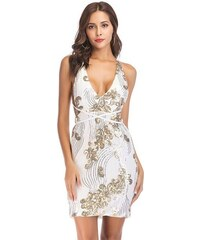 Dámské koktejlové šaty Jareno bílé - bílá 9529c455430