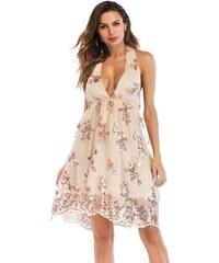 Dámské letní šaty Terria béžovo-zlaté - béžová da72c3b28f