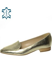 fd68088db1 OLIVIA SHOES Dámske elegantné zlaté kožené lordsy DBA011