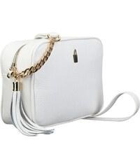 Wojewodzic malé biele kožené kabelky crossbody s retiazkou na ples 31762 af4fc05808d