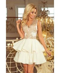 1291dbc63d3 numoco Dámské exkluzivní šaty s krajkovým dekoltem a dvojitou sukénkou bílé