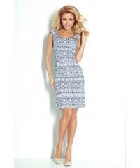 4420f0d126cd Numoco Béžové letné šaty s modrým vzorom 53-14