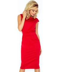 Numoco Červené dámske šaty rovného strihu 144-2 4dcaedd28a6