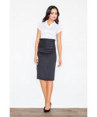 a720a2d65bf9 FIGL Čierna dámska sukňa s vysokým pásom M036