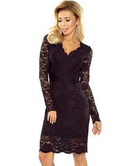 Numoco Čierne dámske šaty s čipkovanými rukávmi a dekoltom 170-1 ccda1b8ec77