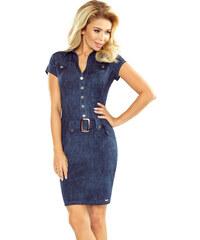 4bf7b4d06db9 Numoco Dámske šaty s gombíkmi a opaskom vzor jeans 142 5
