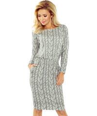 8fd9c047f05f Numoco Dámske šaty s potlačou pleteniny v sivej farbe 172-1