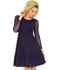 c2980cf47e00 Numoco Dámske šaty s tylovými rukávmi modré 141 1