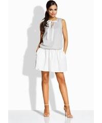 97bfcf7a9a6d Lemoniade Dvojfarebné šedo smotanové šaty s mašľou L214