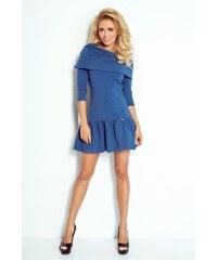 6cc990403017 Numoco Modré dámske šaty s ovinutím cez plecia 108-2